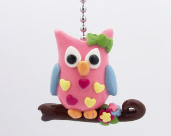Owl Fan Pull - Pink, Blue, Yellow, Green - Owl Nursery - Childrens Owl Decor - Owl Themed Room Decor  - Polymer Clay