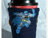 Winter Clearance Batman, super hero cup cozy, coffee cup sleeve cosy, fabric, quilted, navy blue, yellow