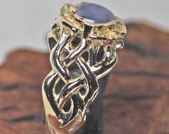 Celtic Fire Ring with Natural Blue Star Sapphire In 14K Yellow Gold Size 9 1/2