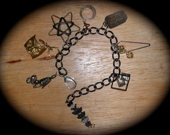 Large Funky Fun Antiqued Metal Chunky Chain Charm Bracelet of Found Collected and Gathered Metal Items
