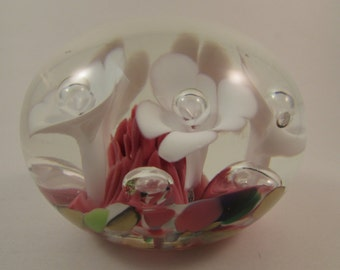 Vintage Maude and Bob St Clair Paperweight 1973 White Ice Pick Trumpet Flowers Controlled Bubble Centers Multicolored Bed Mother's Day Gift