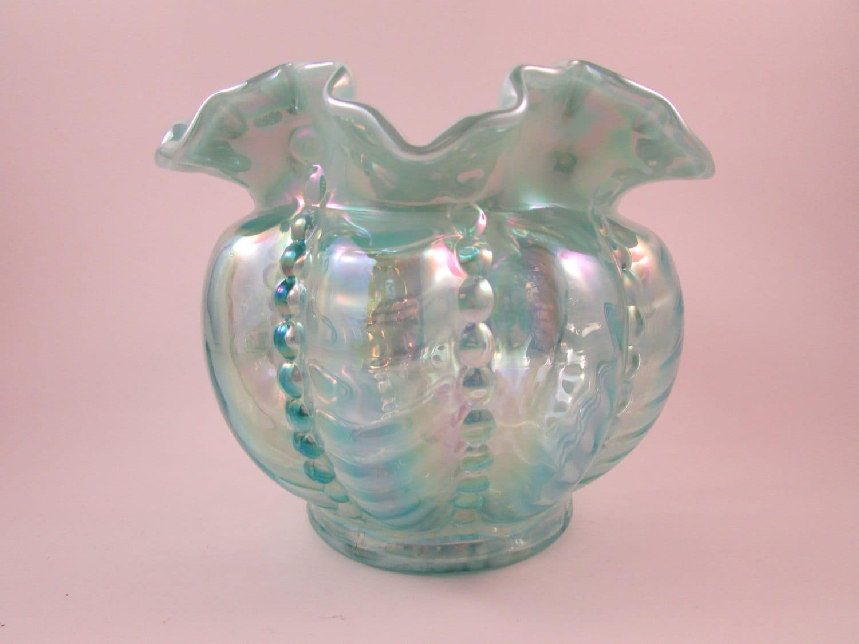 Vintage Fenton Glass Vase Carnival Glass Ruffled Edge Bowl Ruffled Glass Vase