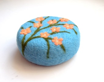 Easter gift Cherry blossom pincushion needle felted wool gift for sewers quilters hostess home decoration