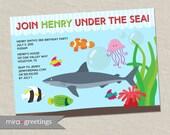 Aquarium Birthday Party Invitations - Sea Creatures Birthday Invite Shark Birthday Party Fish invitations ocean (Printable Digital File)