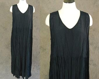 vintage 90s Maxi Dress - Black Crinkle Gauze Tent Dress - Goth Maxi Dress Sz M L XL