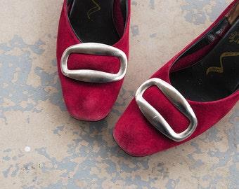 vintage 60s Ballet Flats - Mod Maroon Suede Leather Heels 1960s Red Buckle Shoes Pumps Sz 6 37