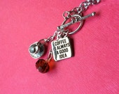 COFFEE NECKLACE, printed pendant, cup and saucer, silver charms, 20 inch chain
