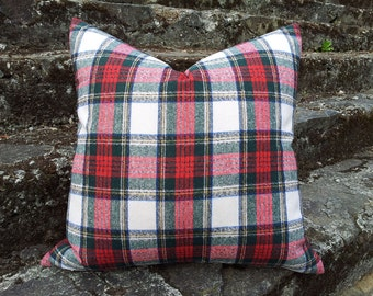 Christmas Pillow Cover, White Red Plaid Pillows, Stewart Tartan Pillow, Stuart Plaid Cushion Cover, Wool Blend, Holiday Pillow Cover, 18x18