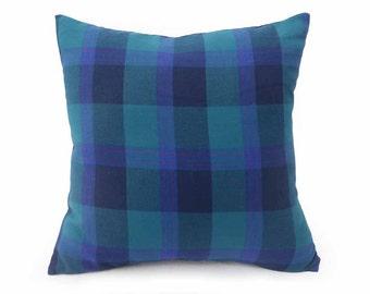 Blue Green Plaid Throw Pillows, Dorm Pillow, Back to School Decor, Teal Wool Plaid Pillow Covers, Ocean Colors, Urban Home Decor, 20x20
