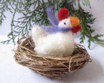Bird ornament,Needle felted hen,animal ornament, needle felted animal,nursery ornament