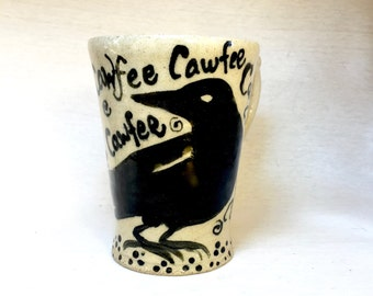 The Raven-Funny Coffee Mug-Unique Gift Mug-Raven-Unique Coffee Mug-Hand Painted-Cute animal tea mug-cute animal coffee cup-Black Crow Cup