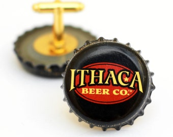 Black Ithaca Beer Bottle Cap Cufflinks Cuff Links