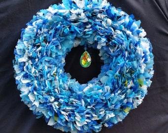 Recycled Plastic Bag Wreath Blue Crystal