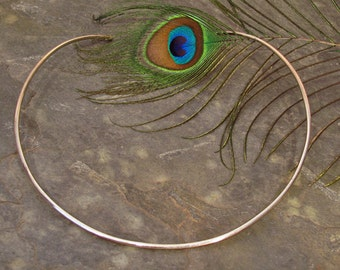 Neck Ring ~ Sterling Silver Torque ~ Choker Necklace ~ Round Neck Wire