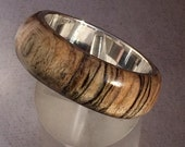 Wood Ring Persimmon Sterling Silver Lined Reclaimed Wood Polished Size 9