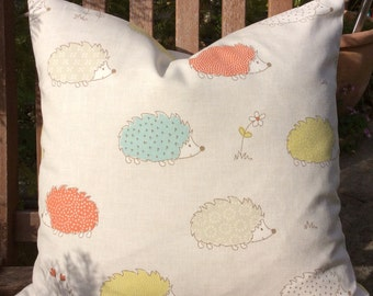 Hedgehog Cushion Cover, Pillow Cover 16x16 inch or 40x40cm, great for a nursery or animal lovers
