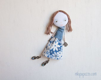 Art Doll Brooch Girl, mixed media collage, gift for her