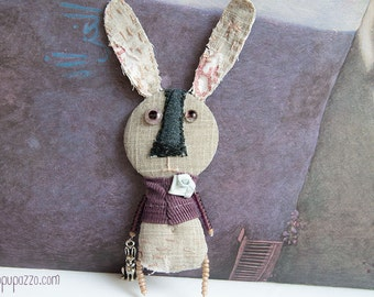 Mister Rabbit, Art Brooch, Gift for him, mixed media