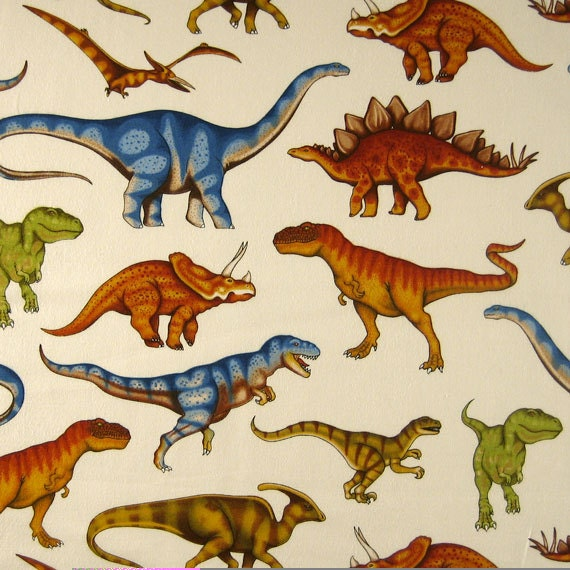 Dinosaur fabric large dinosaurs fabric by by fabricandribbon for Dinosaur fabric