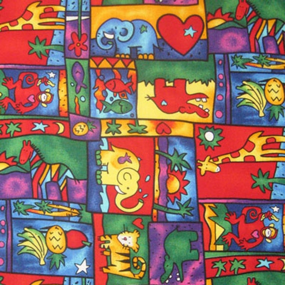 Baby animal cotton fabric kid 39 s jolly jungle fabric for Childrens jungle fabric