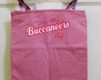 Up cycled Re cycled T Shirt Tote Bag Tampa Bay Buccaneers