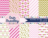 Valentines Day Digital Scrapbook Paper Pack with Pink & Gold Patterns Commercial Use Graphics