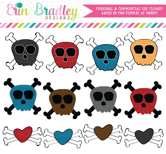 Skull and Crossbones Clipart Clip Art Personal and Commercial Use Boys