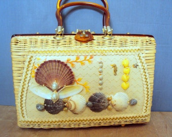 1950s/60s Wicker Princess Charming Sea Shell Lucite Handle Purse by Atlas Hollywood Beach Motif Large