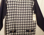 NEW dead stock EVAN-PICONE sweater  top from the 70s houndstooth black and white Size Large