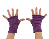 Toddler Arm Warmers in Purple and Grey Stripes - Fingerless Gloves