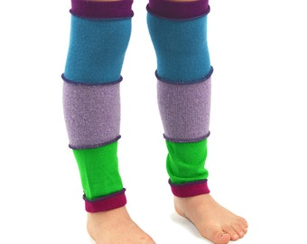 Leg Warmers for Kids in Winter Garden - Mauve Sparkle Purple Blue Apple Green - Recycled Sweaters - Eco Friendly
