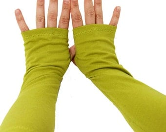 Arm Warmers in Chartreuse Green - Fingerless Gloves - SMALL - LAST PAIR