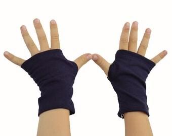 Toddler Arm Warmers in Aubergine Navy - Dark Blue Eggplant - Organic Cotton Fingerless Gloves