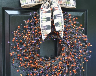 Halloween Wreath- Berry Wreath- Halloween Decor- Witch Decor- Witch's Shoes Ribbon- Spider Web Wreath-  18-24 inch