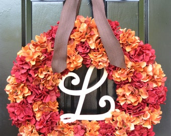 Custom Wedding Wreath, Monogram Hydrangea Wreath, Fall Monogram Wreath, Orange Hydrangea Wreath, Fall Decor Halloween Decor