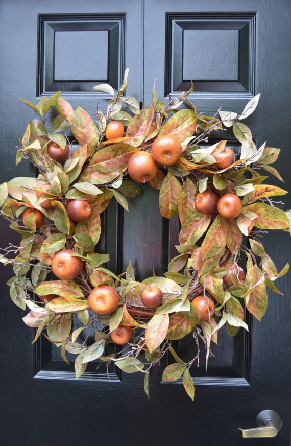 Fall Wreath- Fall Decor- Carmel Apple Fall Door Wreath Front Door Autumn Wreath- Wreath for Door Wall Art- Year Round Wreath- Yellow Flowers
