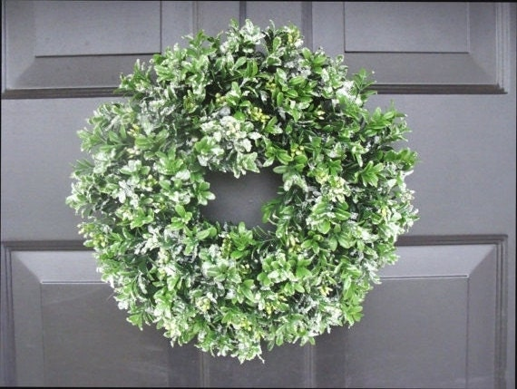 Let it Snow Artificial Boxwood Wreath- Christmas Wreath- 13 Inch Window Wreath- Christmas Window Decoration, Candle