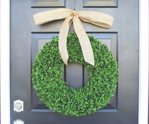 Artificial Boxwood Wreath- Summer Wreath- Wedding Wreath- 20 inch Artificial Boxwood Wreath- Burlap Ribbon- Christmas Wreath-