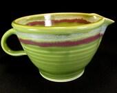 Batter Bowl- Green Mixing Bowl- Whisking Bowl- Green Handled Bowl- Kitchen Mixing Bowl- Cake Batter Bowl- Ceramic Mixing Bowl- InStock