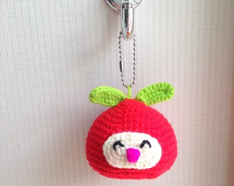 Christmas Ornament, Doll, Fruit, Amigurumi, Pin Cushion, plush, Berrychan, Berry, red, green, kid, girl, boy, decor, toy, baby, doll Crochet