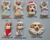 YELLOW LAB dog, porcelain ornaments, created by Nicole, free personalizing, many styles from pull down menu