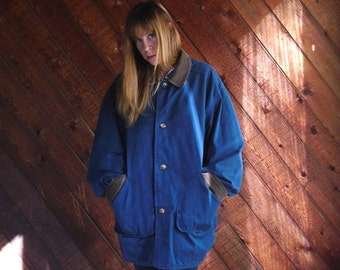 extra 25% off SALE ... Navy Blue Cotton Twill Field Jacket Parka Coat with Corduroy Collar- Vintage 90s - M L