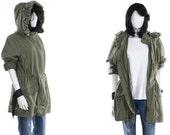 Vintage Army Jacket  Olive Green Hooded Military Jacket Size Large