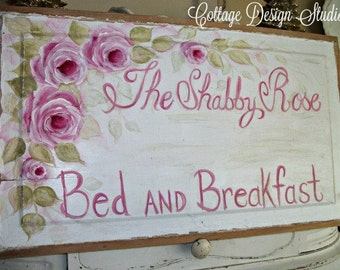 shabby pink roses sign, pink roses painting, shabby sign, wall decor, cottage decor, shabby roses aign, bed and breakfast sign, shabby