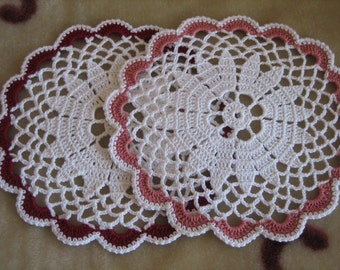 Hand made, crochet, coasters, set of two, new, ready