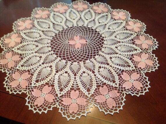 Table Center,Dogwood designed, Pink, white, New, Hand made, Thread art