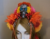 The Gift: Day of the Dead Headpiece SKULL Headband Skeleton HANDS Colorful Flowers Red Ribbons Orange Yellow Pink Ode to Frida