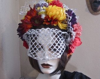 Day of the Dead FLORAL HEADPIECE Frida Kahlo Inspired Sugar Skull Colorful Flowers Silver Glitter Netting Veil