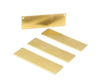 Brass Stamping Blank, 10 Raw Brass Stamping Blank, with 2 Holes Pendant (50x15x0.80mm) Y195