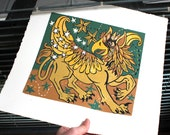 Gryphon or Griffin mythical beast colorful woodcut edition almost sold out